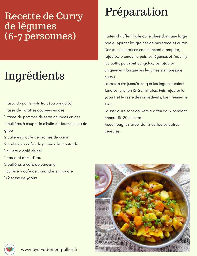 Recette curry de légumes , tridoshique